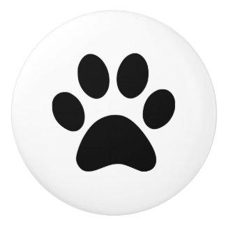 Impresión de la pata - el gato del perro de pomo de cerámica