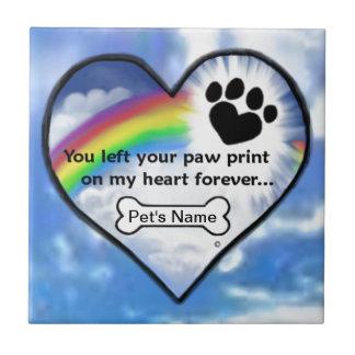 Impresión de la pata en mi corazón azulejo cuadrado pequeño