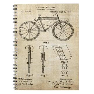 Impresión de la patente de la bicicleta 1896 libretas espirales