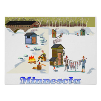 Impresión de la pesca del hielo de Minnesota Impresiones