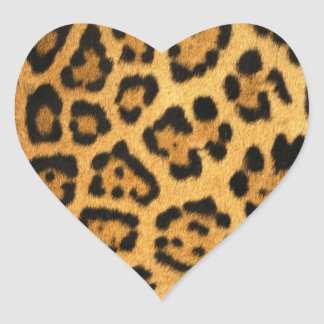 Impresión de la piel de Jaguar Pegatina En Forma De Corazón