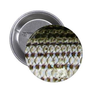 Impresión de la piel de los pescados de la lubina pin redondo de 2 pulgadas