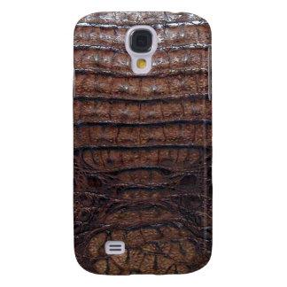 Impresión de la piel del cocodrilo de Brown Funda Para Galaxy S4