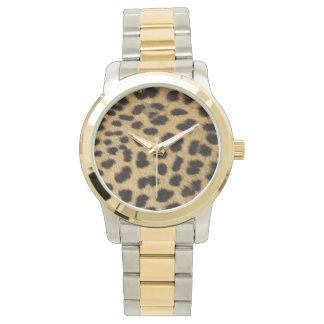 Impresión de la piel del guepardo reloj de mano