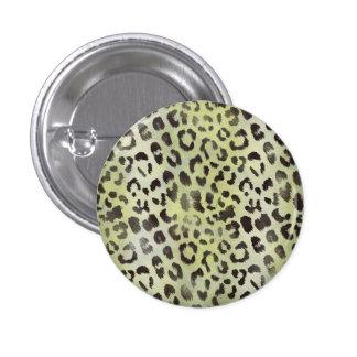Impresión de la piel del leopardo en chartreuse pin redondo de 1 pulgada