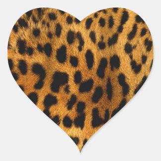 Impresión de la piel del leopardo pegatina en forma de corazón