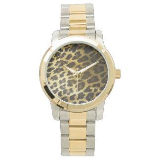 Impresión de la piel del leopardo relojes de pulsera