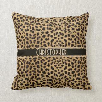 Impresión de la piel del punto del leopardo cojín decorativo