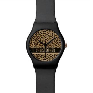 Impresión de la piel del punto del leopardo reloj de mano