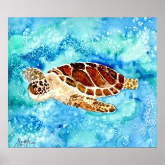 impresión de la pintura de la tortuga de mar en ar poster