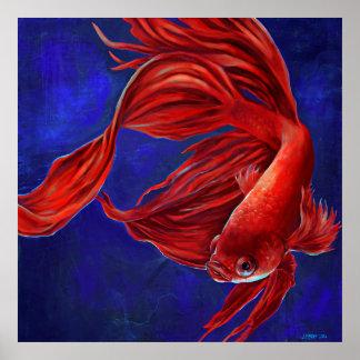 Impresión de la pintura de los pescados de Betta