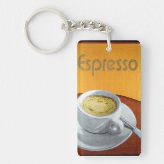 Impresión de la pintura del café express llavero rectangular acrílico a doble cara