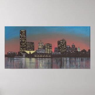 Impresión de la pintura del horizonte de Milwaukee Póster