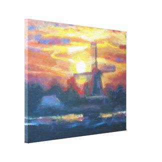 Impresión de la pintura del molino de viento de la impresión en lienzo estirada