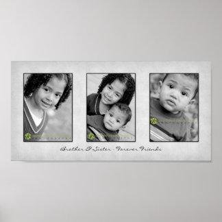 Impresión de la plantilla de la foto del trío 10x2 póster