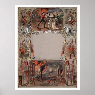 Impresión de la plantilla del certificado del cuer póster