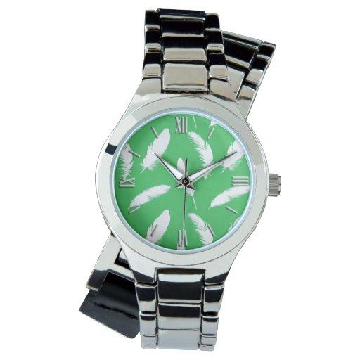 Impresión de la pluma blanca en verde de jade reloj de mano