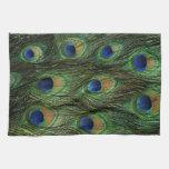 Impresión de la pluma del pavo real toallas de cocina