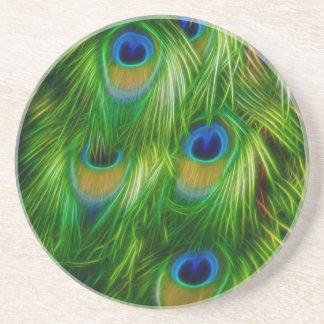 Impresión de la pluma del pavo real posavasos para bebidas
