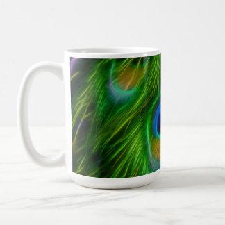 Impresión de la pluma del pavo real taza de café