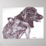 """Impresión de la pluma y de la tinta - """"dos perros  posters"""