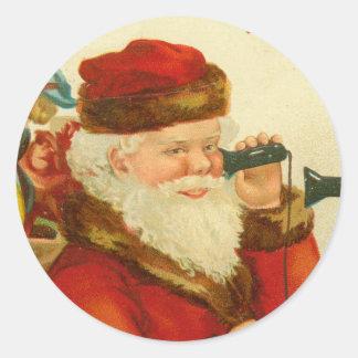 Impresión de la postal del vintage del navidad de pegatina redonda