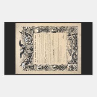 Impresión de la proclamación de la emancipación pegatina rectangular