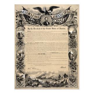 Impresión de la proclamación de la emancipación tarjeta postal