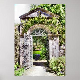 Impresión de la puerta de jardín póster