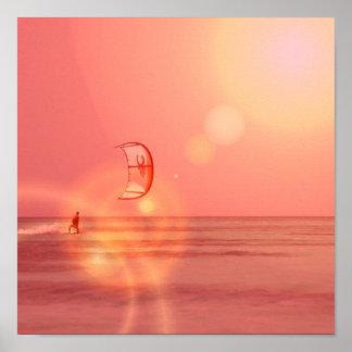 Impresión de la puesta del sol de Kiteboarder Impresiones