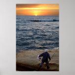 Impresión de la puesta del sol de la pesca posters