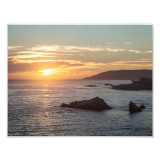 Impresión de la puesta del sol de la playa de cojinete