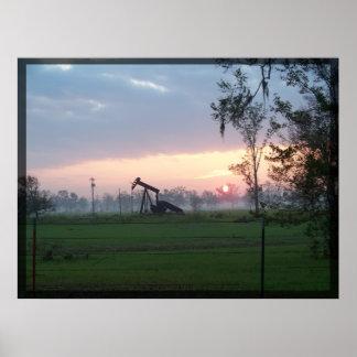 Impresión de la puesta del sol de Tejas Póster