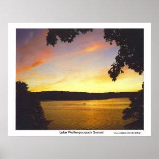 Impresión de la puesta del sol de Wallenpaupack de Poster