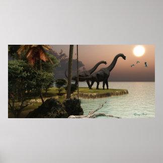 Impresión de la puesta del sol del Brachiosaurus Poster