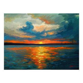 Impresión de la puesta del sol fotografía