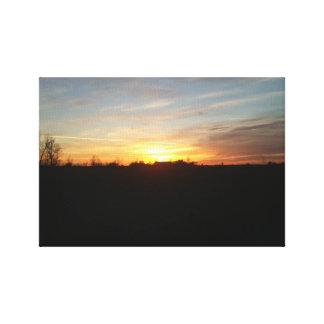Impresión de la puesta del sol fuera del dakot del lona estirada galerias