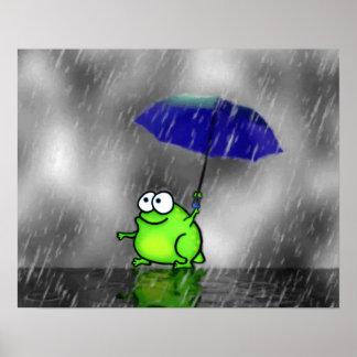 Impresión de la rana del día lluvioso póster