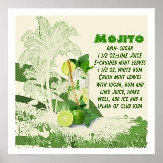 Impresión de la receta de Mojito Póster