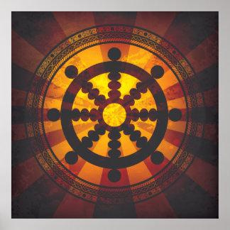Impresión de la rueda de Dharma del vintage Poster