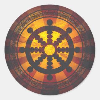 Impresión de la rueda de Dharma del vintage Pegatina Redonda