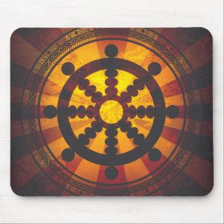 Impresión de la rueda de Dharma del vintage Alfombrillas De Ratones