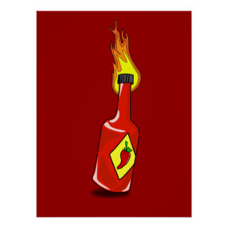 Impresión de la salsa caliente del dibujo animado
