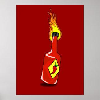 Impresión de la salsa caliente del dibujo animado impresiones