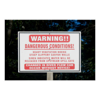 Impresión de la señal de peligro de la presa del r póster