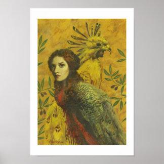 Impresión de la señora bella arte del pájaro póster