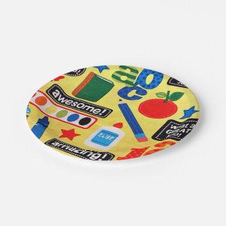 Impresión de la tela de los días escolares plato de papel de 7 pulgadas