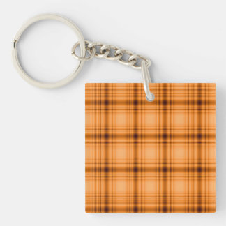 Impresión de la tela escocesa de Brown del cobre Llavero Cuadrado Acrílico A Doble Cara