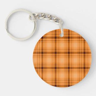 Impresión de la tela escocesa de Brown del cobre Llavero Redondo Acrílico A Doble Cara