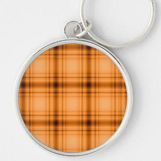 Impresión de la tela escocesa de Brown del cobre Llavero Redondo Plateado